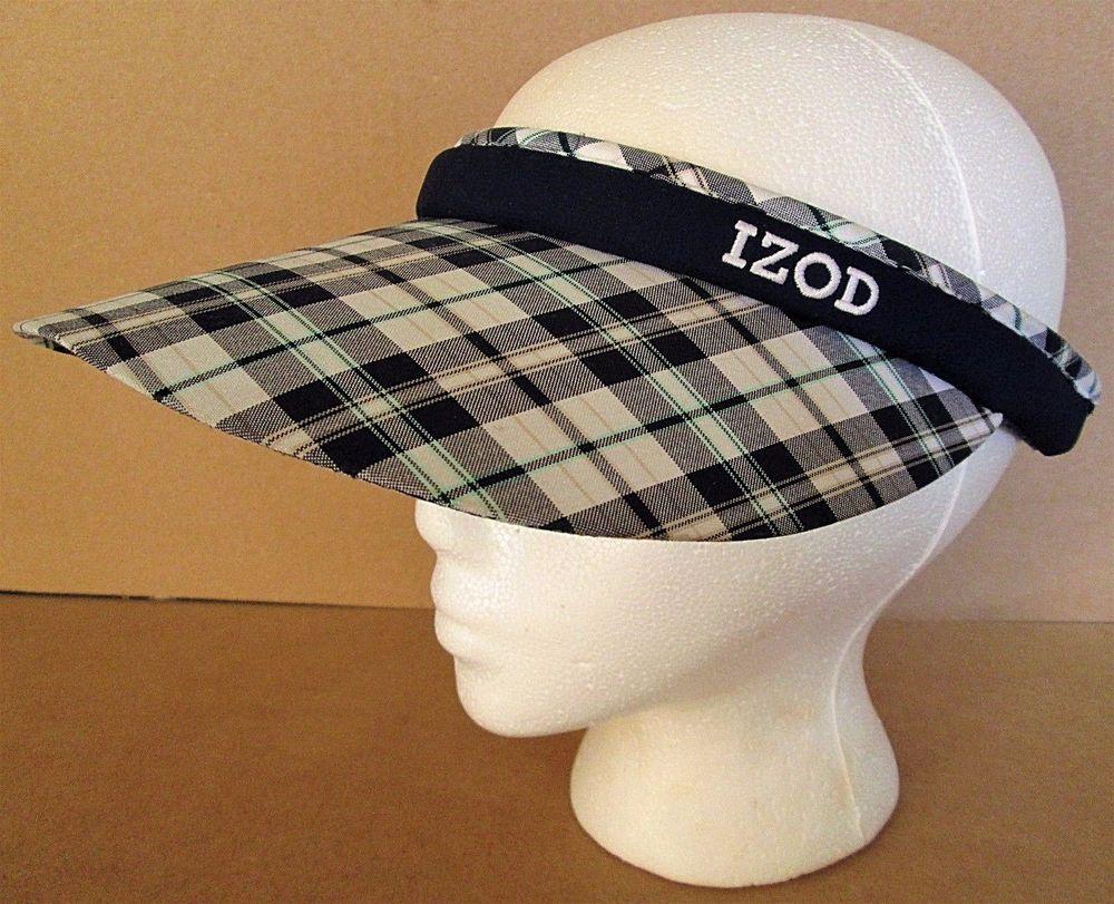 5a970f79 IZOD Women's Split Clip Golf Sun Visor Hat Blue White Plaid w/ Terry Cloth  Band #IZOD #Visor
