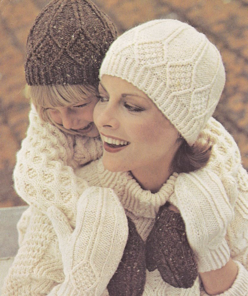 Vintage Knitting Pattern Instructions to Make Adult Childs Aran Hat ...