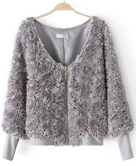 Grey Long Sleeve Zip Roses Applique Coat US$34.75