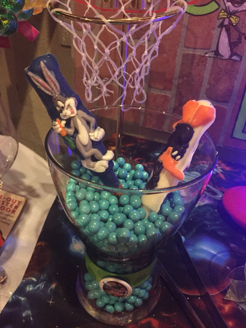 More pics of the candy buffet space jam theme party for Sideboard jam