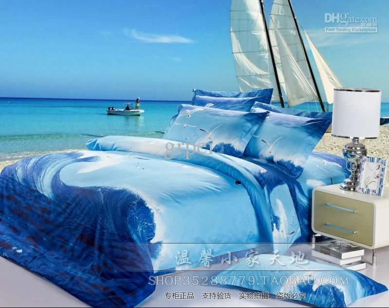 Wholesale Ocean Comforter Bedding Set Blue Queen Size Comforters Sets Bed Sheet Duvet Quilt Cover Oil Bedding Sets Queen Size Comforter Sets Queen Bedding Sets