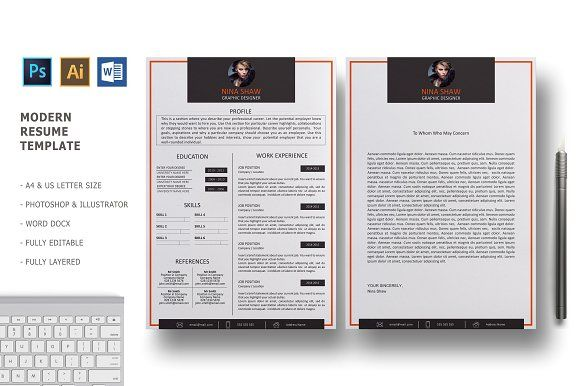 Orion Resume Template by Nina Shaw on @creativemarket Resumes - CV - letterhead example