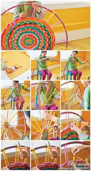 Photo of Woven Finger-Knitting Hula-Hoop Rug DIY – Flax & Twine