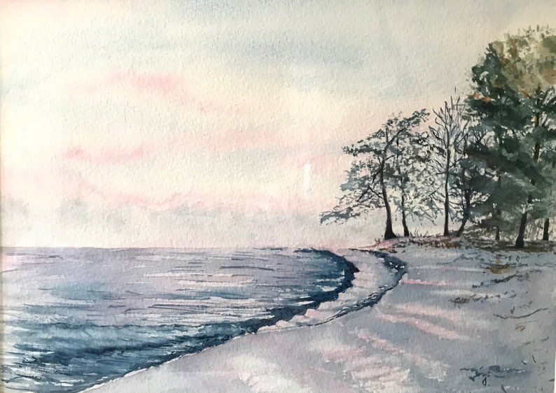 Original Seascape Watercolor Ocean Lover Gift Beach Etsy