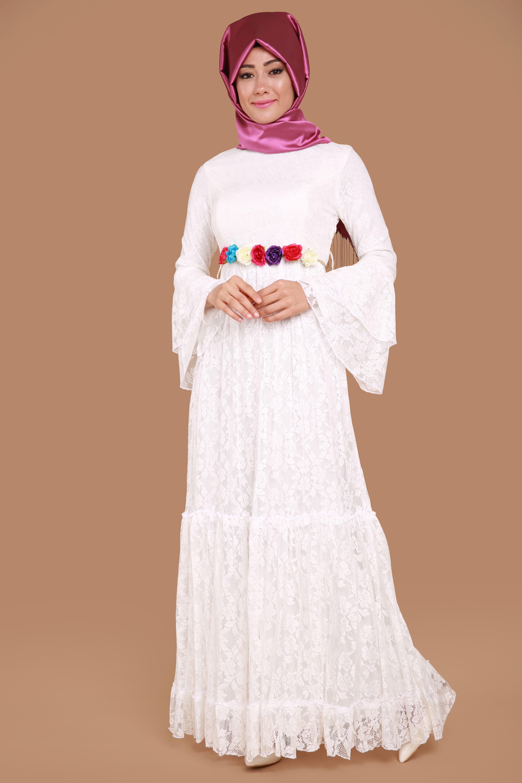 Kollari Volanli Dantel Elbise Beyaz Urun Kodu Dmn7764 119 90 Tl The Dress Dantel Elbise Elbise