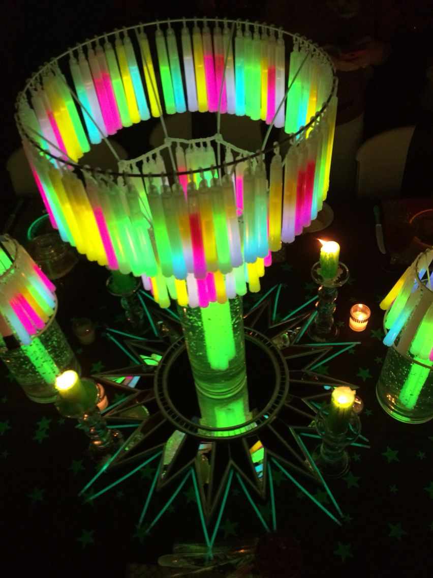 Glow Stick Chandelier Centerpiece Masterpiece Glow Stick Wedding Glow Sticks Glow Crafts
