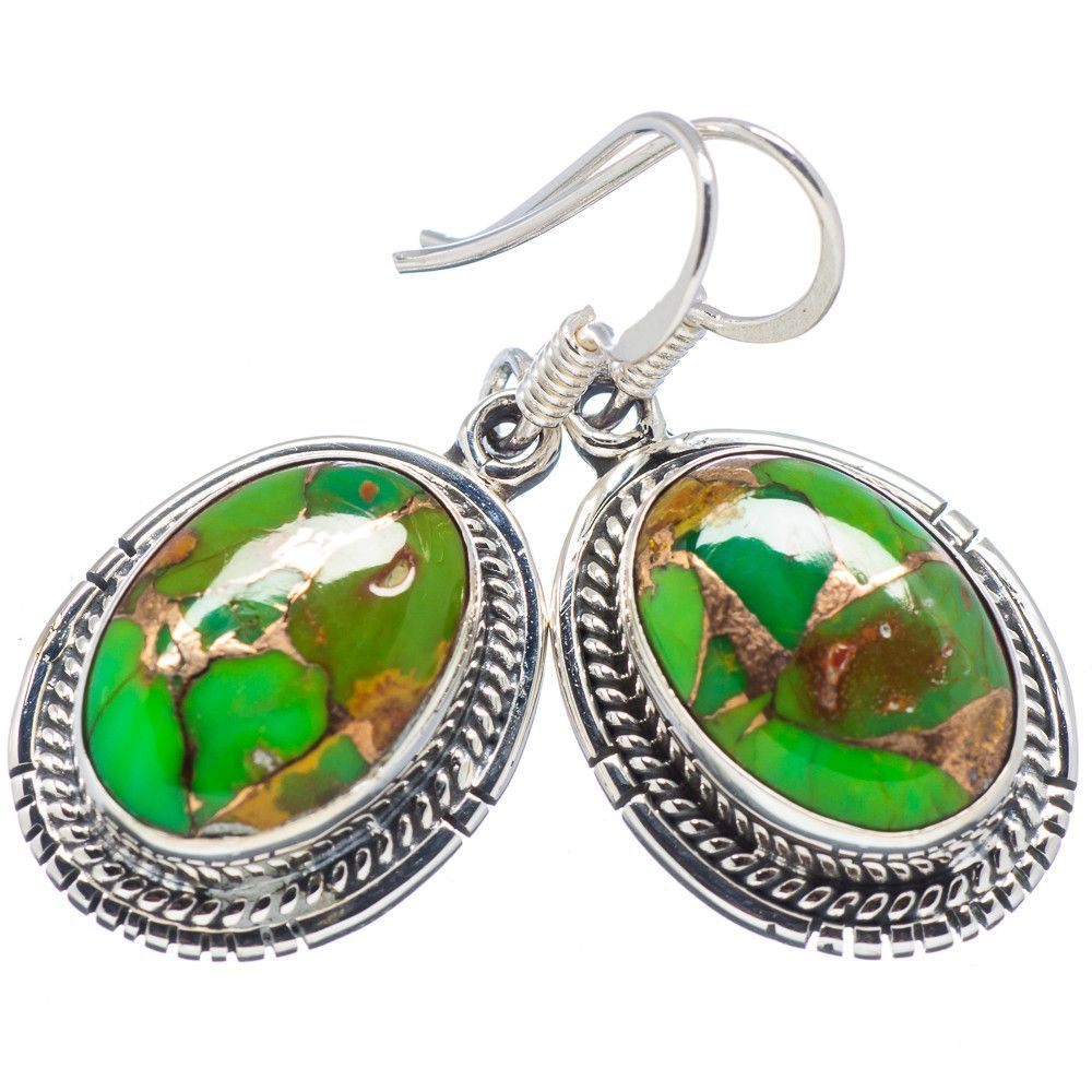 "Green Copper Composite Turquoise 925 Sterling Silver Earrings 1 1/4"" EARR319478"