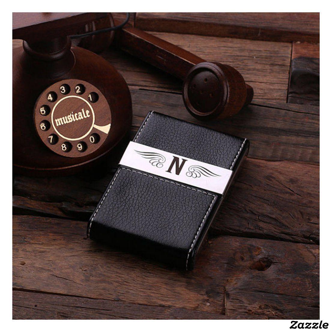 Black monogram leather business card holder