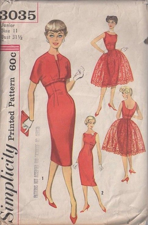 Simplicity 3035 Vintage 50\'s Sewing Pattern INCREDIBLE Pin Up VIXEN ...