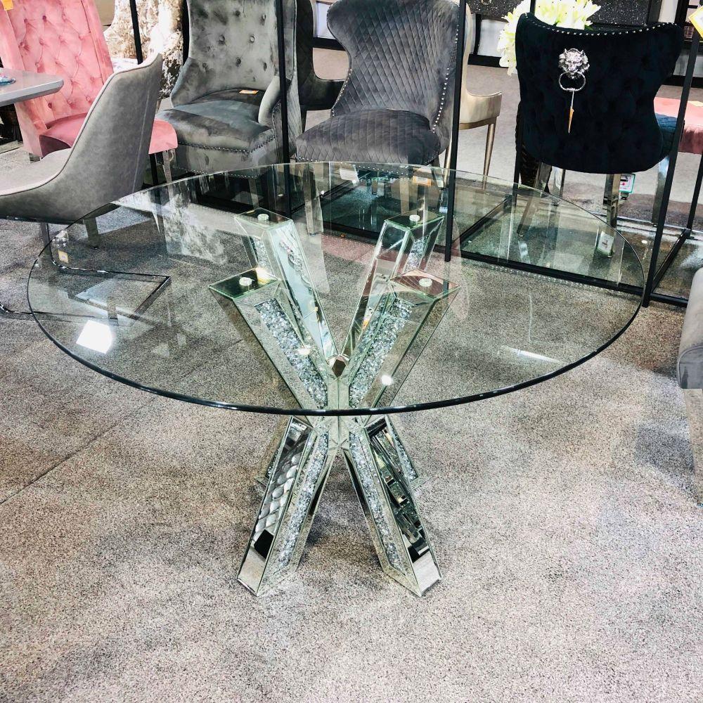 Bling Furniture Bling Bling Bling Mirrored Furniture Crush Crystal Sparkle Mirrors Crush Crystal Mirrored Furniture Round Dining Table Glitter Home Decor [ 1000 x 1000 Pixel ]