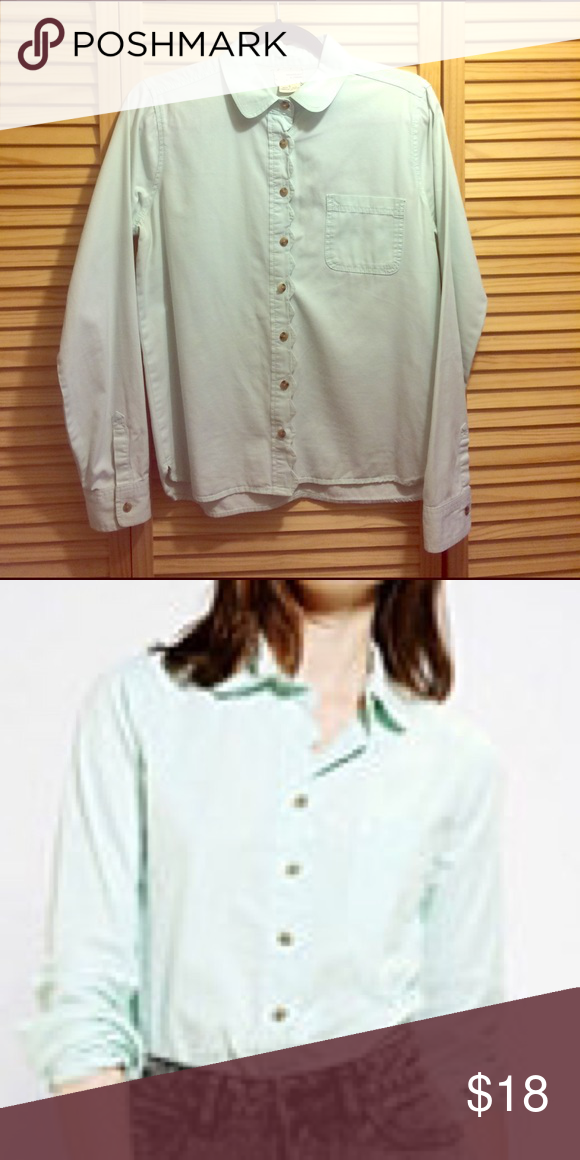 coincidence & chance scallop-placket shirt mint green delight. this shirt can dress up or dress down any outfit. i hate to part with it but it's now too small. Urban Outfitters Tops Button Down Shirts