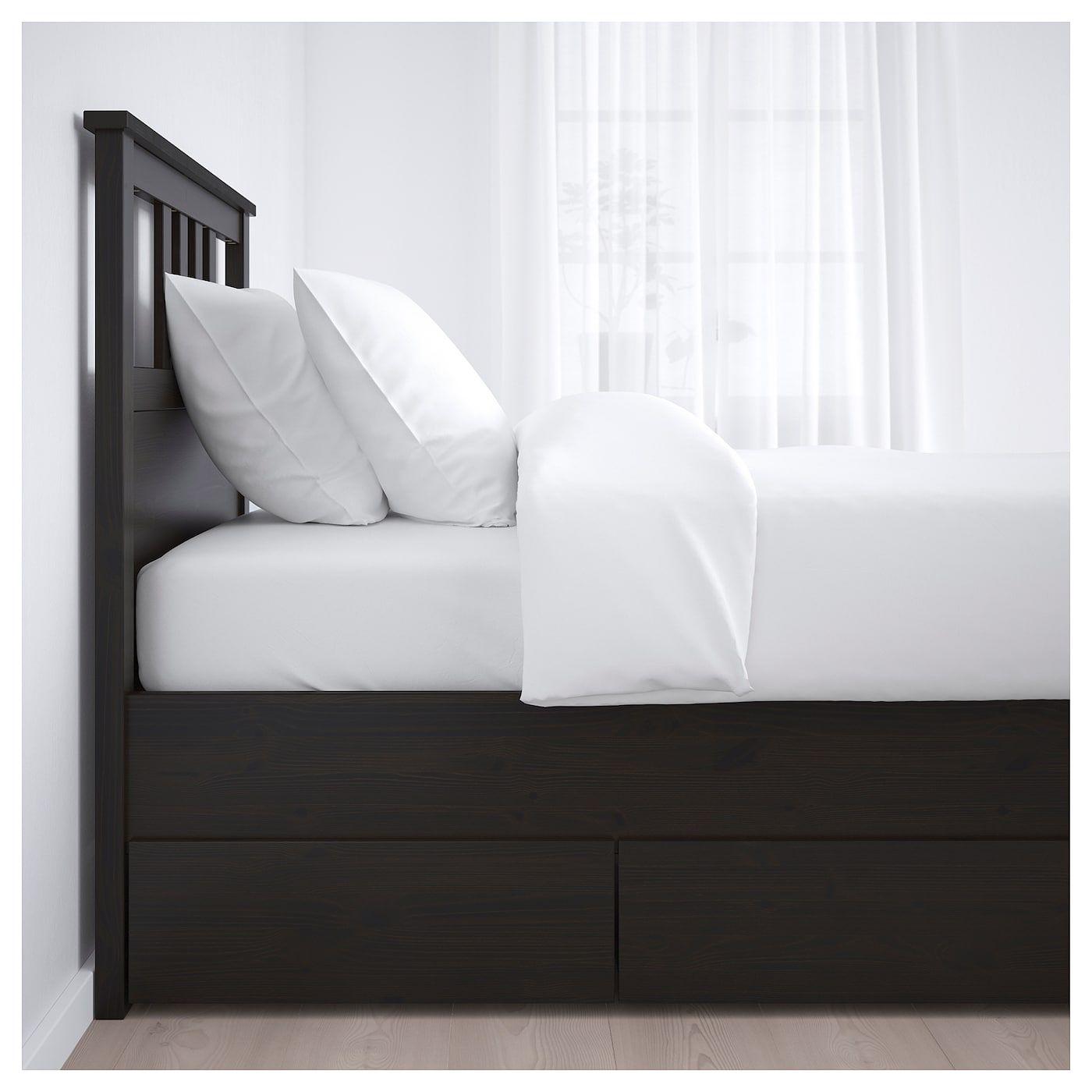 Hemnes Bed Frame With 2 Storage Boxes Black Brown Eidfjord Twin