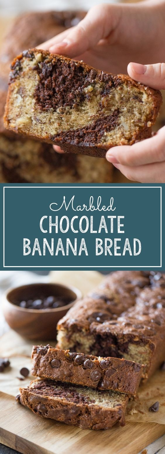 MARBLED CHOCOLATE BANANA BREAD | SLOW COOKING19 #bananabreadbrownies