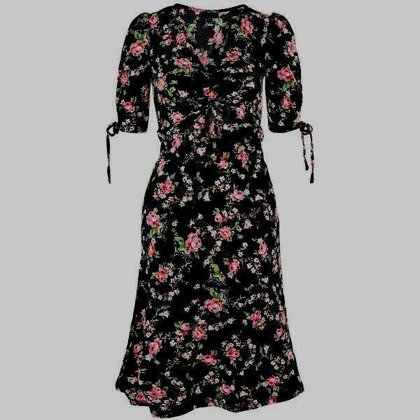 93c4e762b9db 39.22   BNWT Topshop Black Rose Floral Ruched Detail Midi Tea Dress - Size 8