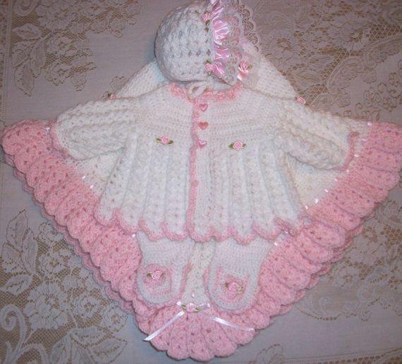 d93931a41cf0 Crochet Baby Girl Sweater Set Layette with Fancy Feet Leggings ...
