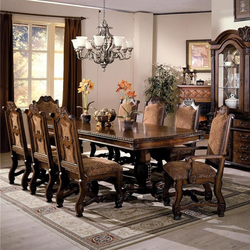 arlington round sienna pedestal dining room table w chestnut finish. room · neo renaissance dining table arlington round sienna pedestal w chestnut finish