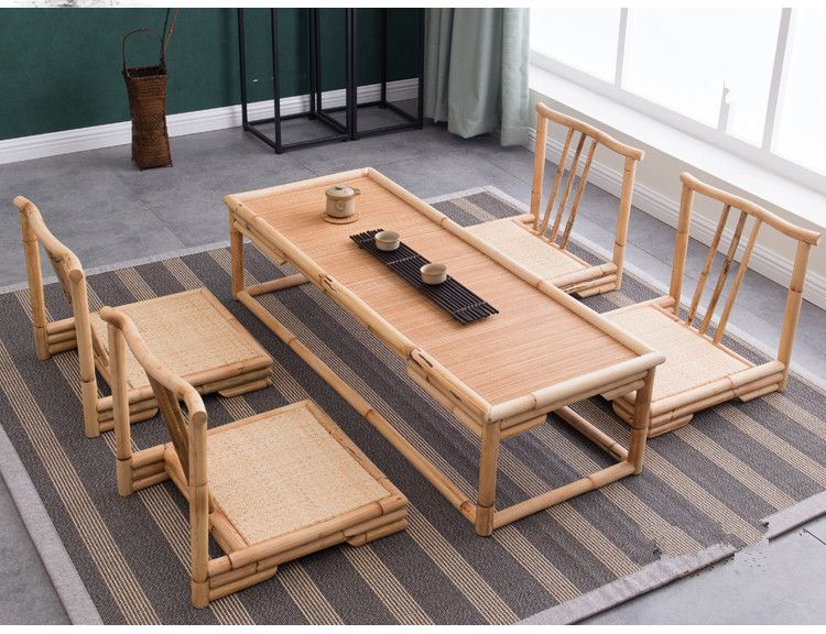 Hechos A mano Moderna Mesa de Muebles De Mimbre De Bambú Piso Tatami ...