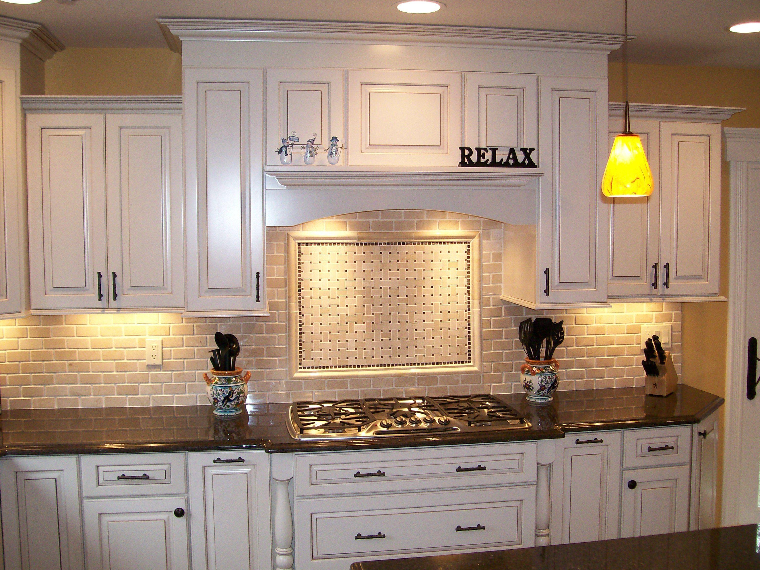 Kitchen Nice Brick Backsplash In Kitchen With White Cabinet And