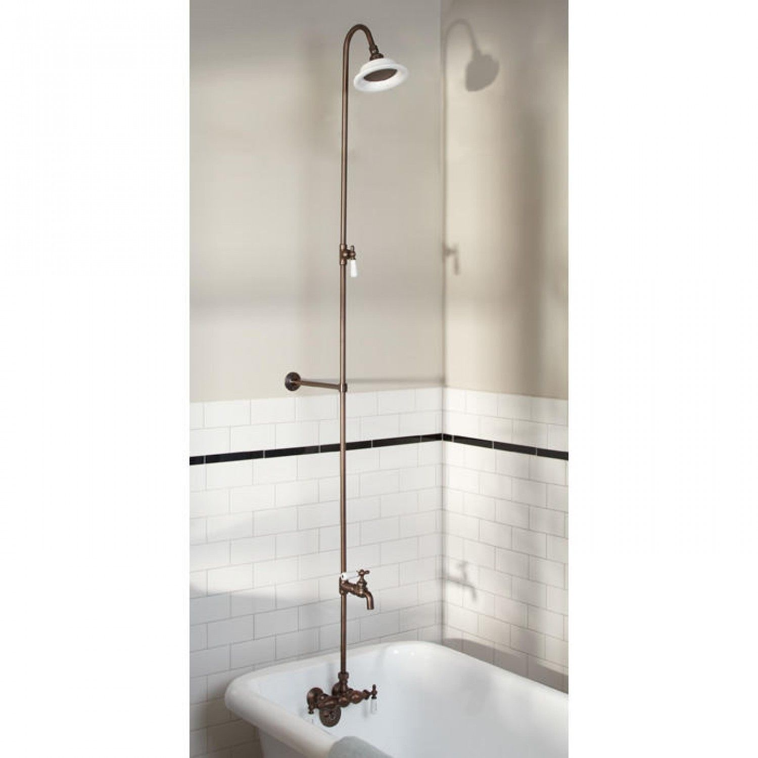 Bathroom shower pipe - This Exposed Pipe Shower Comes With Everything You Need Including Faucet With Cross Handles