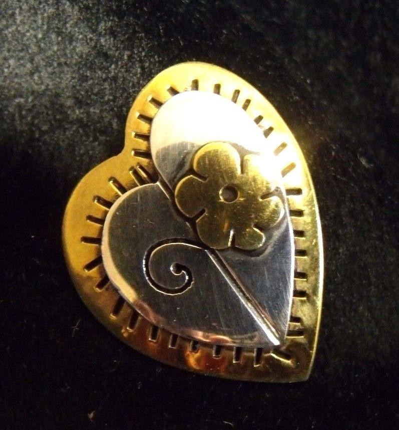 Heart Flower Gardening Spring Silver Brass Copper Far Fetched VTG Pin Brooch RET #FarFetched