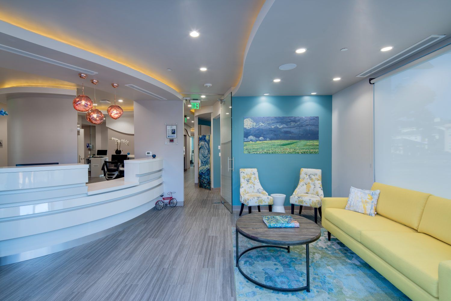 Blue Apple Dental Group Kohan Inc Dental Office Design Interiors Dental Group Interior Design School