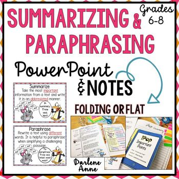 Teach Your Student To Summarize And Paraphrase Fiction Nonfiction By Using The Powerpoint Note Teaching Prep Graphic Organizer Informational Writing V Summary Ppt