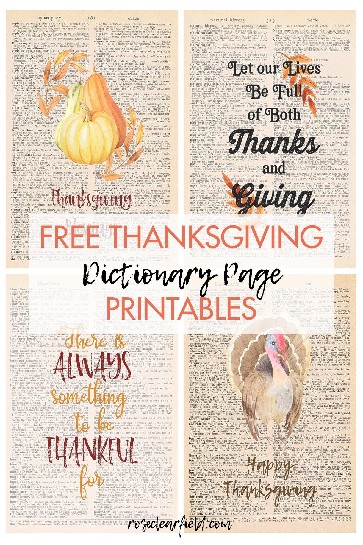 12 Free Thanksgiving Dictionary Page Printables In 2020 Free Thanksgiving Free Thanksgiving Printables Thanksgiving Printables