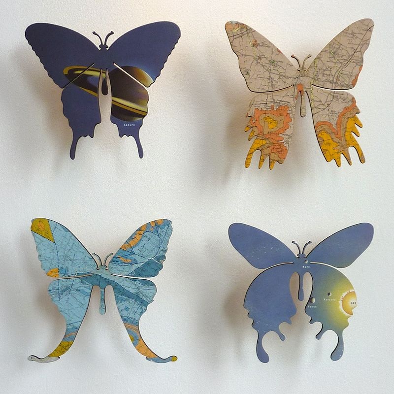 3d wall mounted butterflies laser cut from maps bonded on plywood