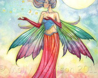 Discipline Fairy and Dragon Watercolor Giclee by MollyHarrisonArt