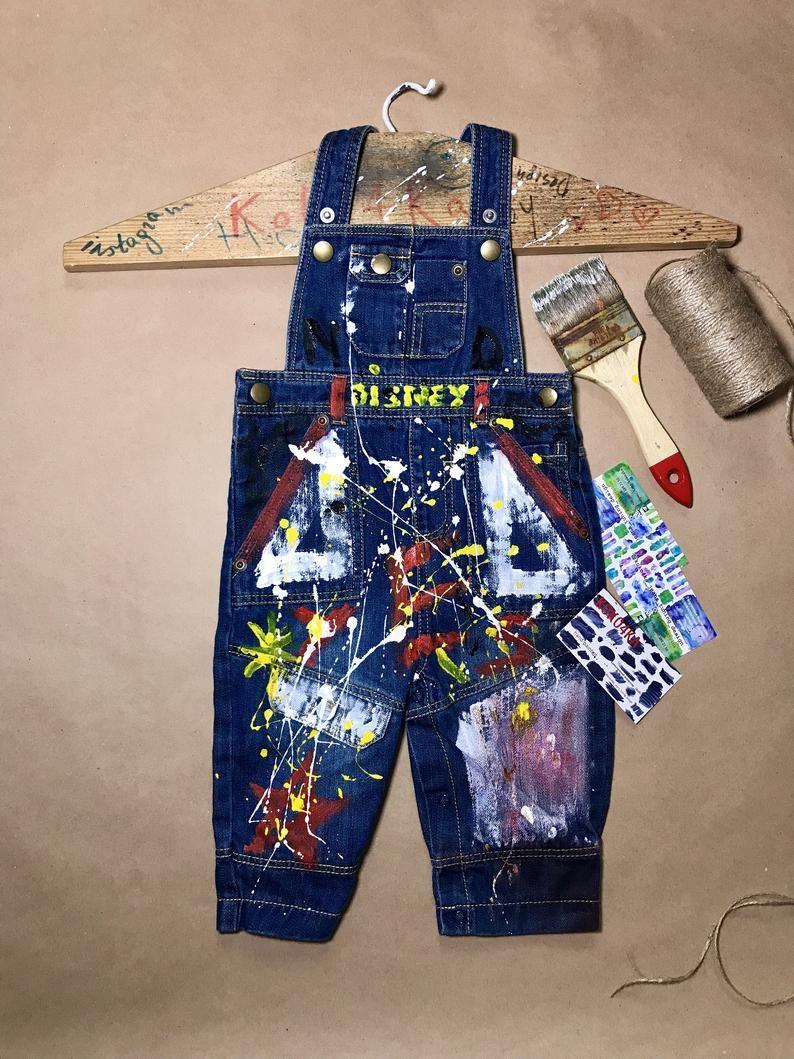 Splatter distress overalls Splatter overalls Jeans Babies Unique kids gifts Trendy kids clothing Paint splatter overalls Spray paint boys