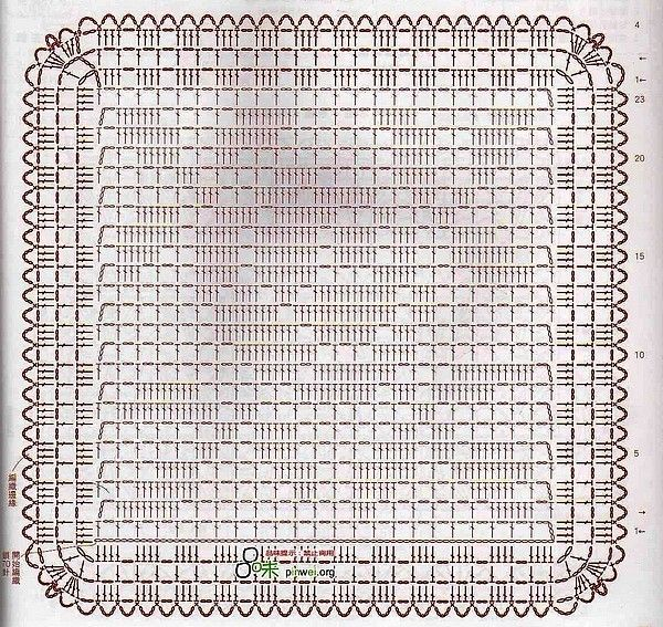 Crochet Rose Motif Filet Crochet Diagram.  Easy to follow. ☀CQ #crochet #crafts #DIY