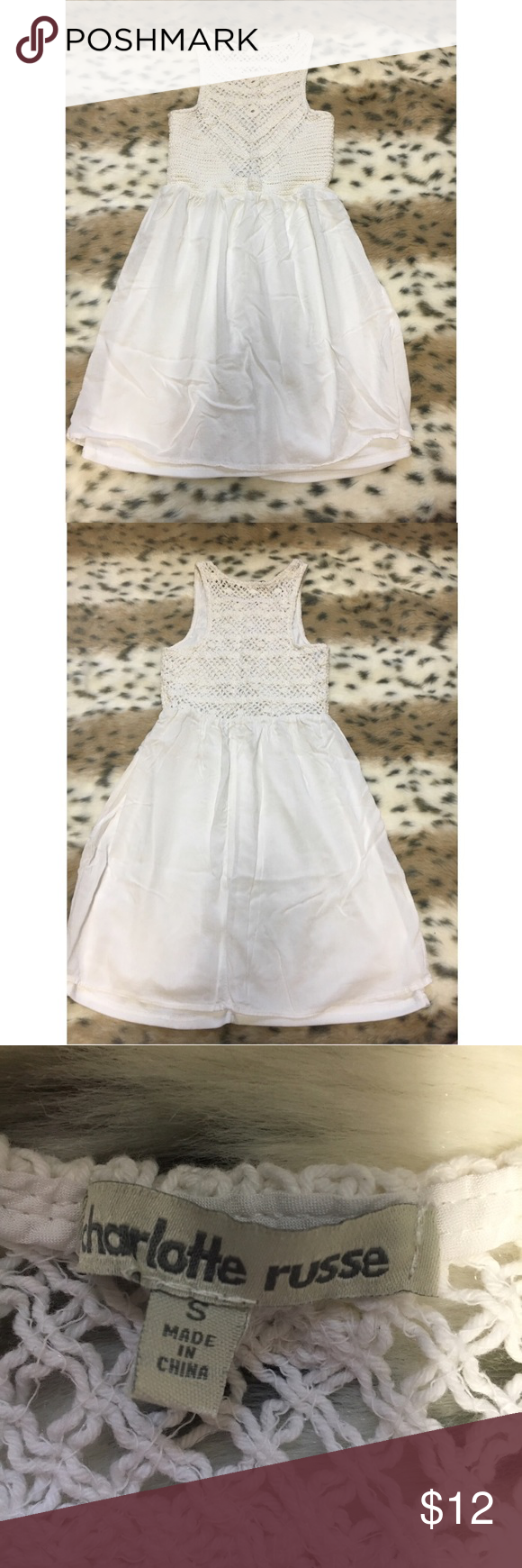 White Knit Dress Perfect condition! Size small. Lining under Dress. Charlotte Russe Dresses