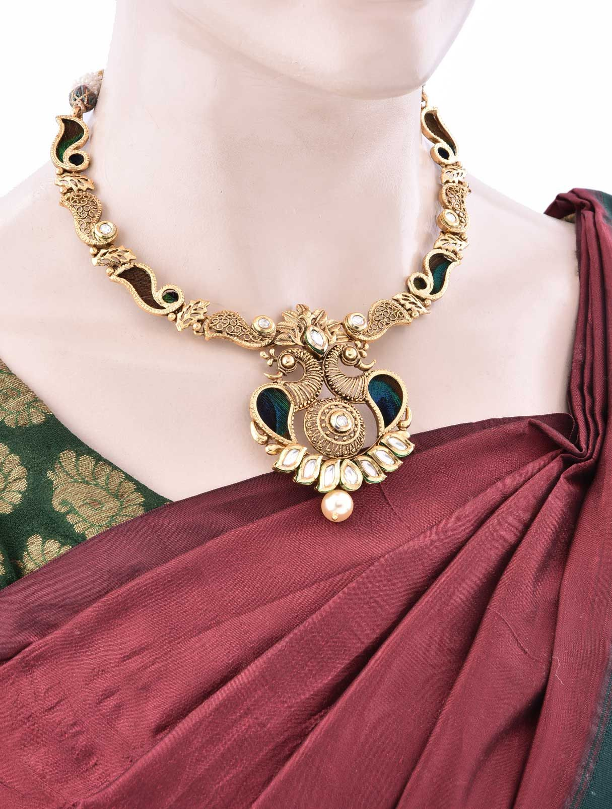 Jewlry Necklace Set with Antique Peacock Design