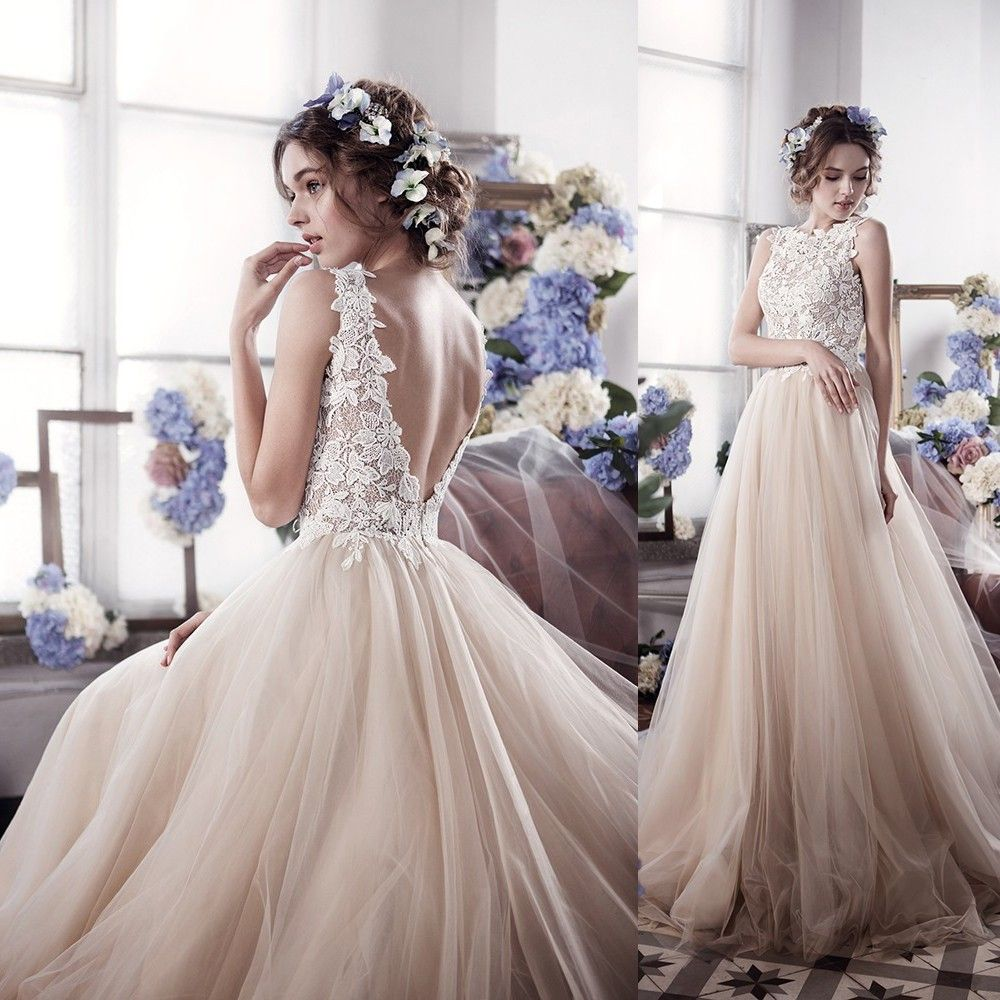Click to buy ucuc sexy backless beach wedding dresses appliques