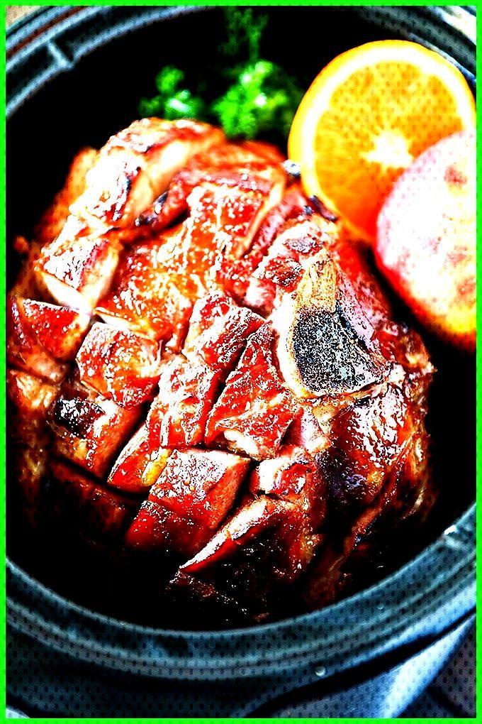 Crockpot Ham with Maple Brown Sugar Glaze Crockpot Ham  a traditional flavor packed bone-in ham mad