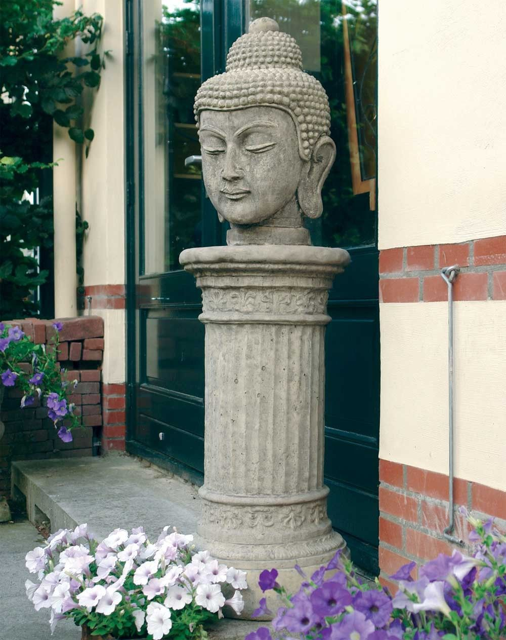 Stone Buddha Head Statue On Plinth Large Garden Sculpture. Buy Now At Http:/