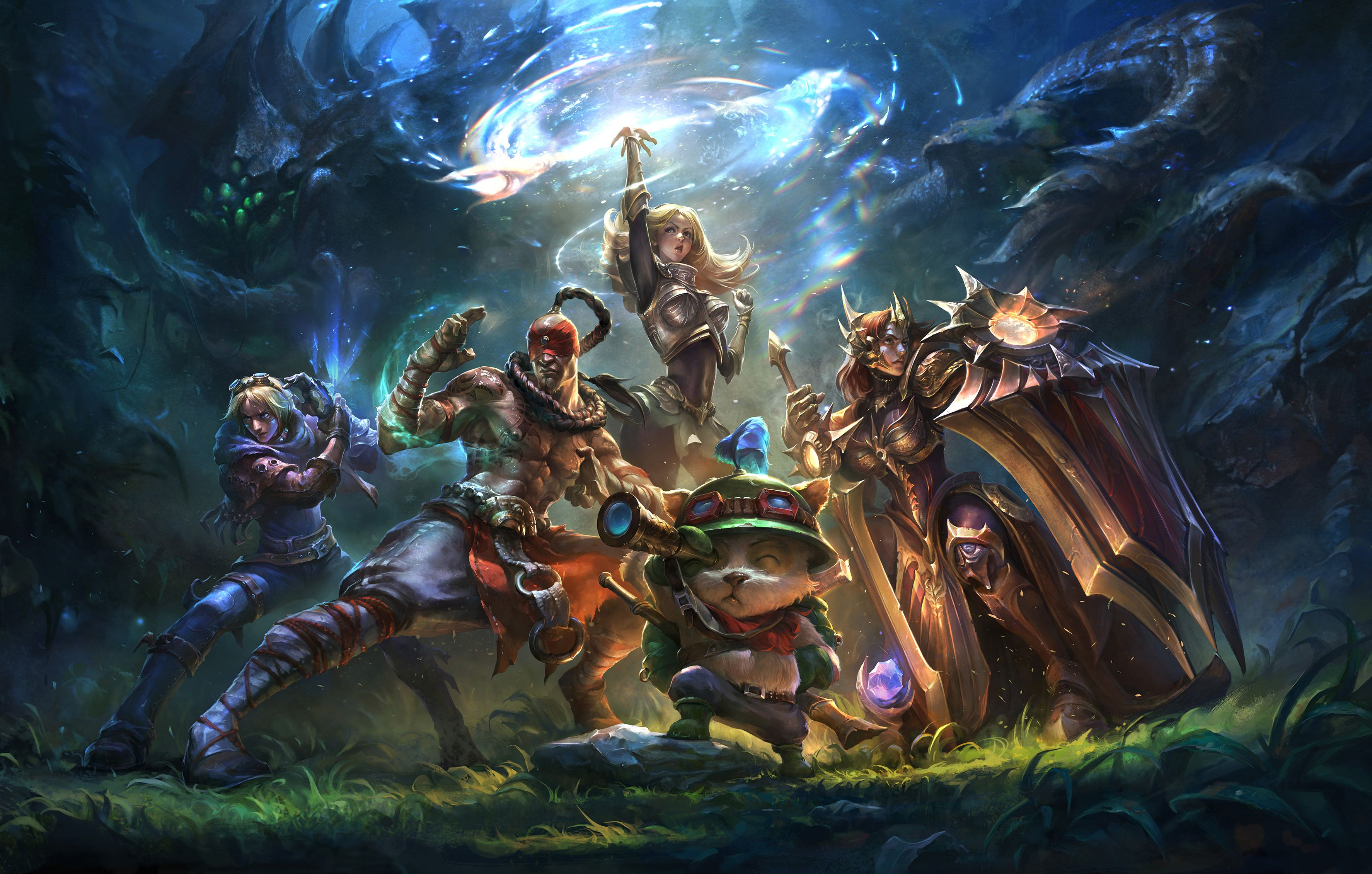 Video game league of legends lee sin teemo ezreal lux leona