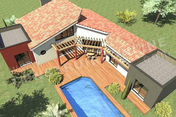 Plan de maison en L moderne Caron vue dessus plans de maisons - plan maison demi sous sol