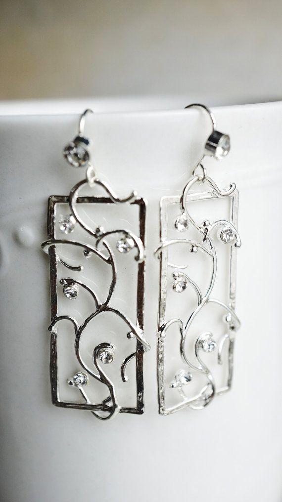 Earrings silver vine filigree rhinestone frame by VerdigrisGifts