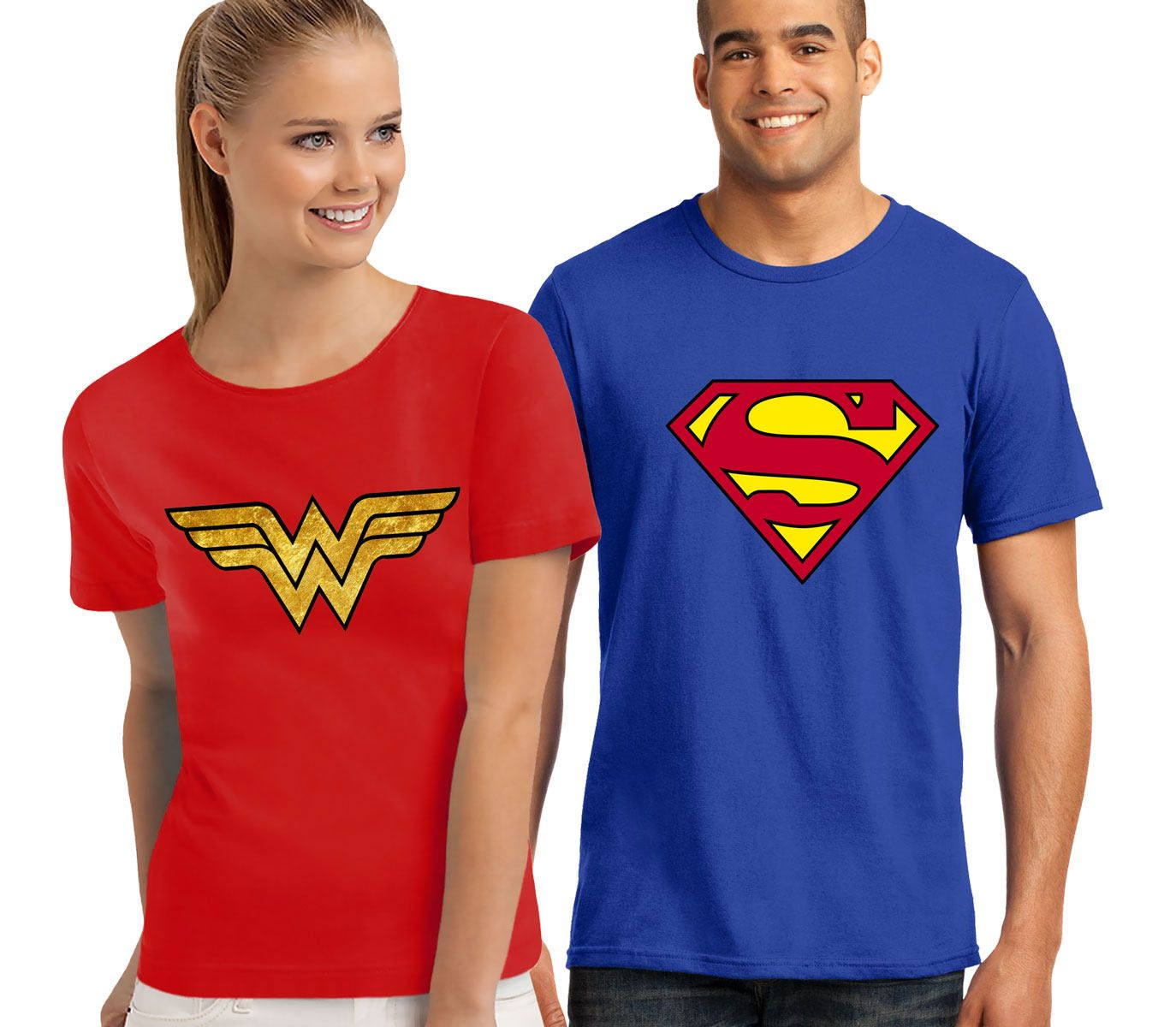 58a794dee8 Superheroes Couple T-shirts Supermen And Supergirl Shirt Men's Women's T- Shirt by DesignApparelStore on Etsy