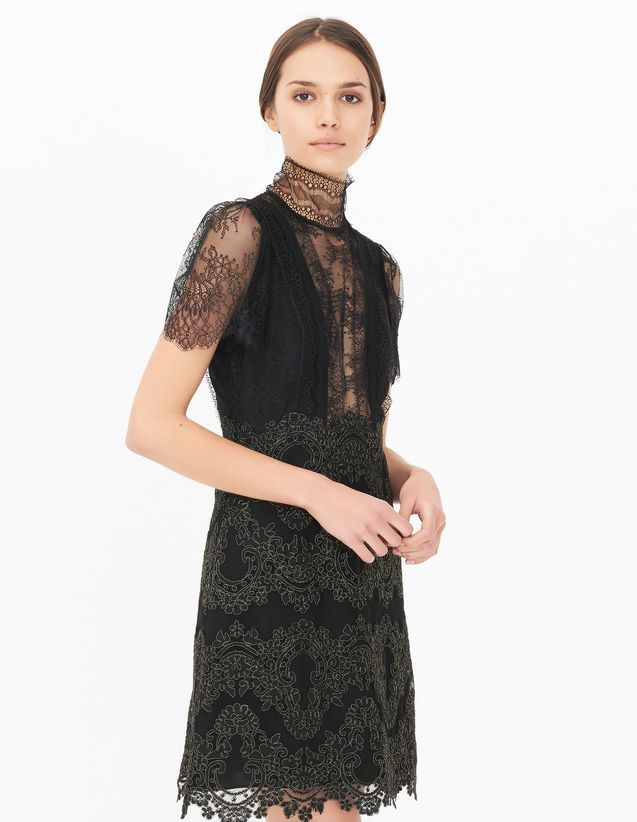 Sandro lace dress black ribbon