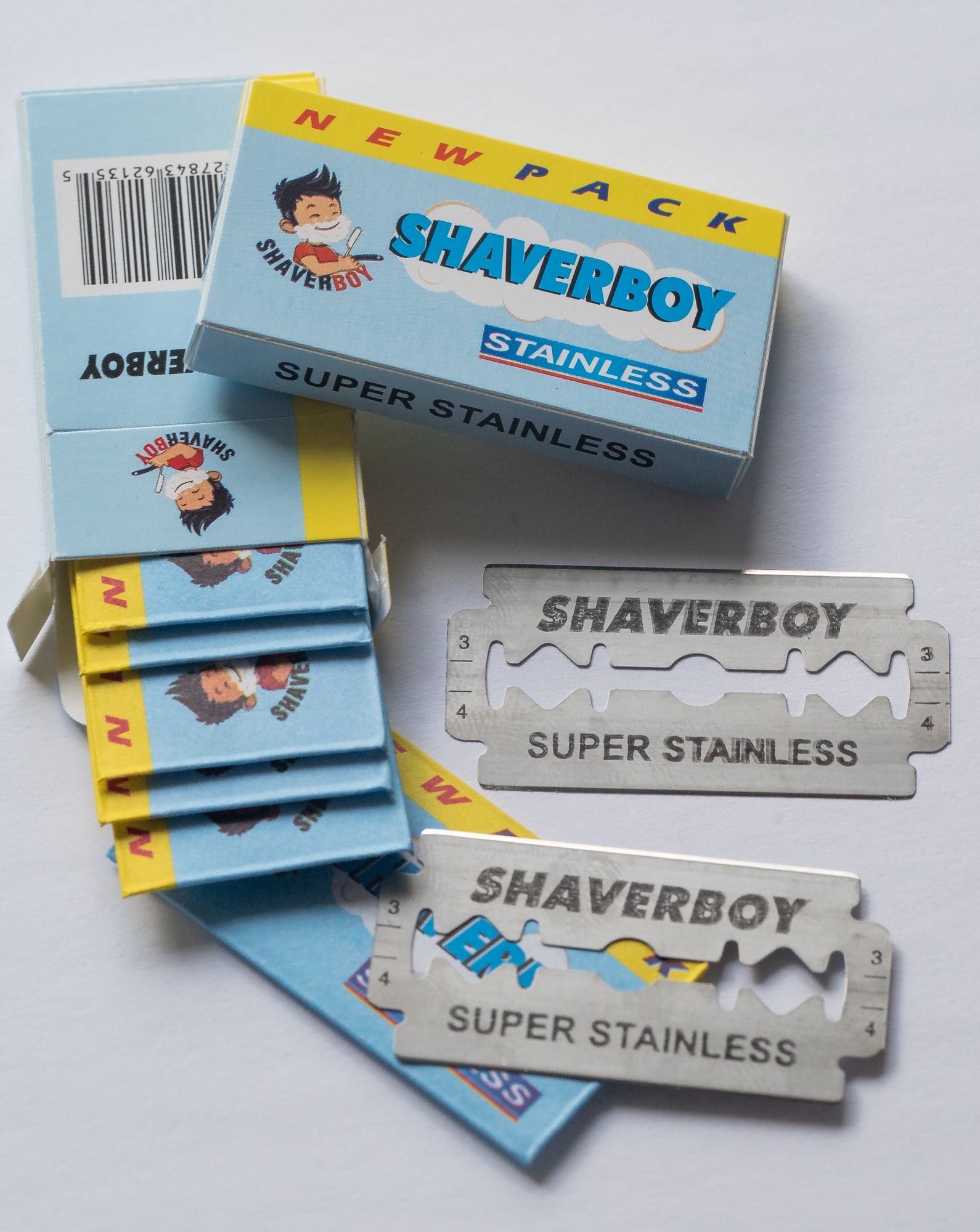 The open Shaverboy blade tuck. Candy, Shaving, Food