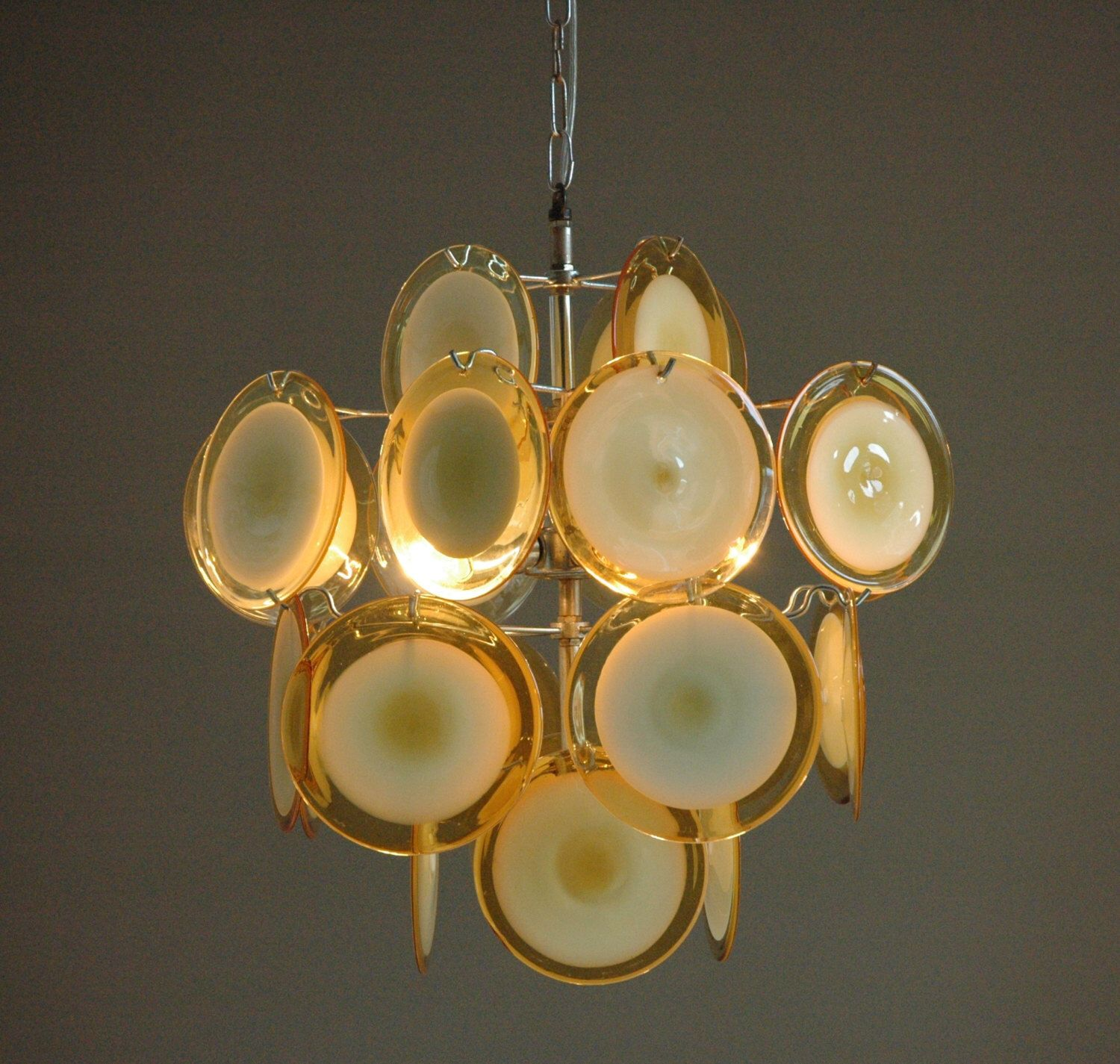 Vistosi chandelier in yellow 24 murano glass discs by iconiclights vistosi chandelier in yellow 24 murano glass discs by iconiclights on etsy https aloadofball Image collections