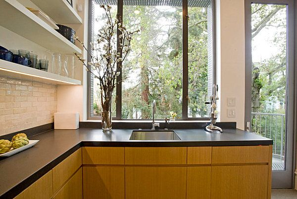Modern Stylish Countertop Idea For Impressive Kitchens And Bathrooms:  Stylish And Affordable Kitchen Countertop Tile Backsplash Wall Shelvin.