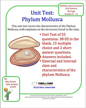 This is a test on the Phylum Mollusca. It includes 55 questions. There are 38 fill in the blank questions, 15 multiple choice questions, and two discussion questions. ($)