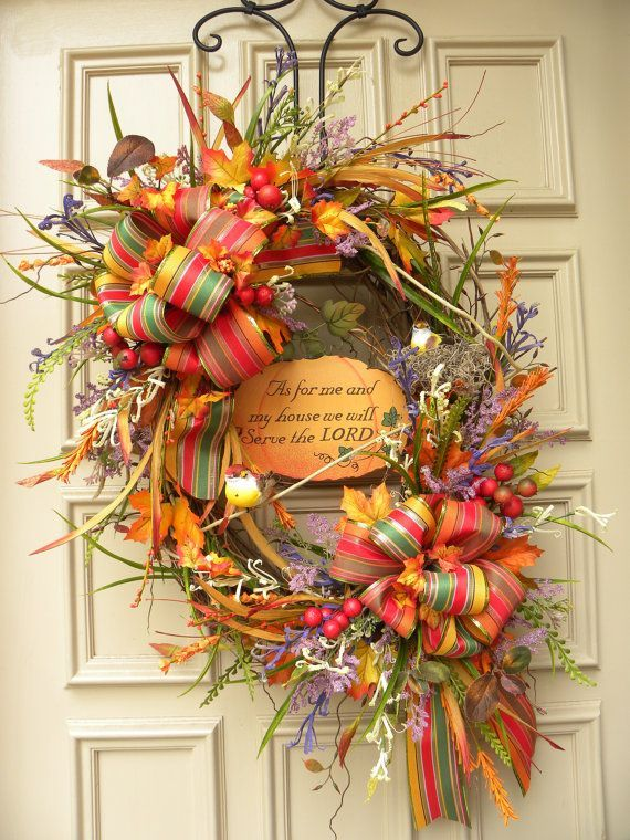 pinterest fall floral arrangements | Fall Autumn Door Wreath Floral Arrangement by ... | Wreaths &Door Dec ...