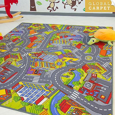 childrens rug kids city town road map village car play mat wide range of sizes