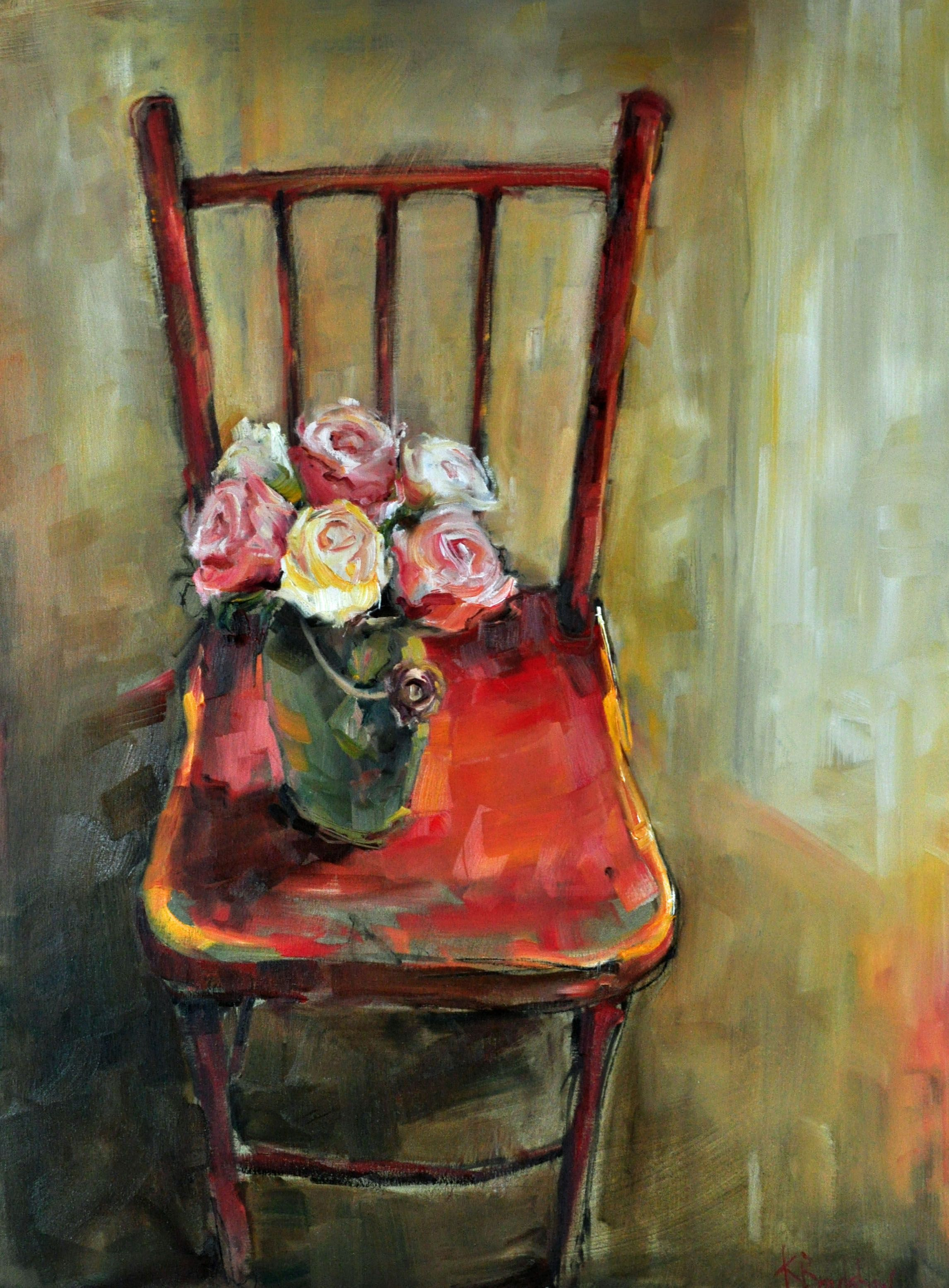 Roses On Red Chair In 2020 Art Chair Red Chair Art