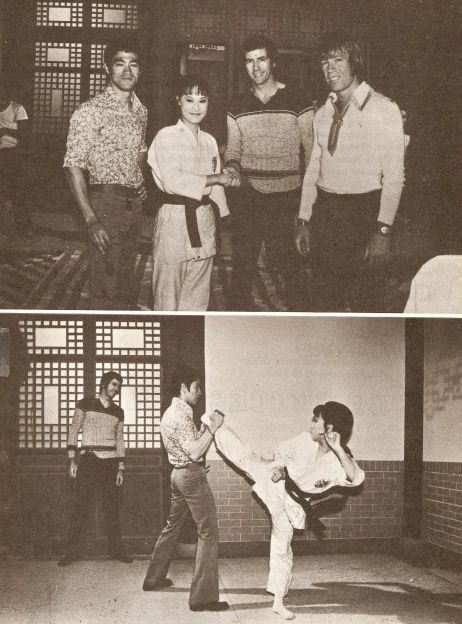 "Bruce Lee, Angela Mao, Bob Wall and Chuck Norris on the set of ""Hapkido""."