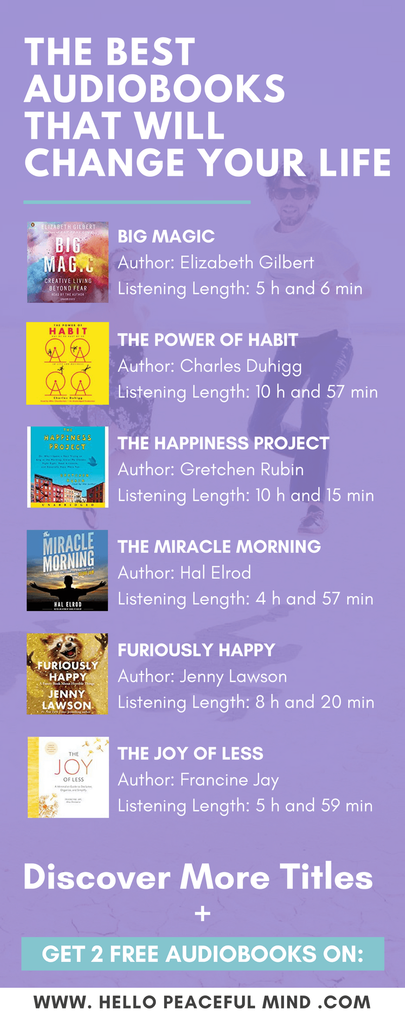 The Best Audiobooks That Will Change Your Life is part of Inspirational books, Personal development books, Best audiobooks, Self help books, Good books, Audible books - Discover the best audiobooks for selfhelp, creating a happy home, healthy living and relationships  Plus, get 2 free audiobooks on Hello Peaceful Mind!